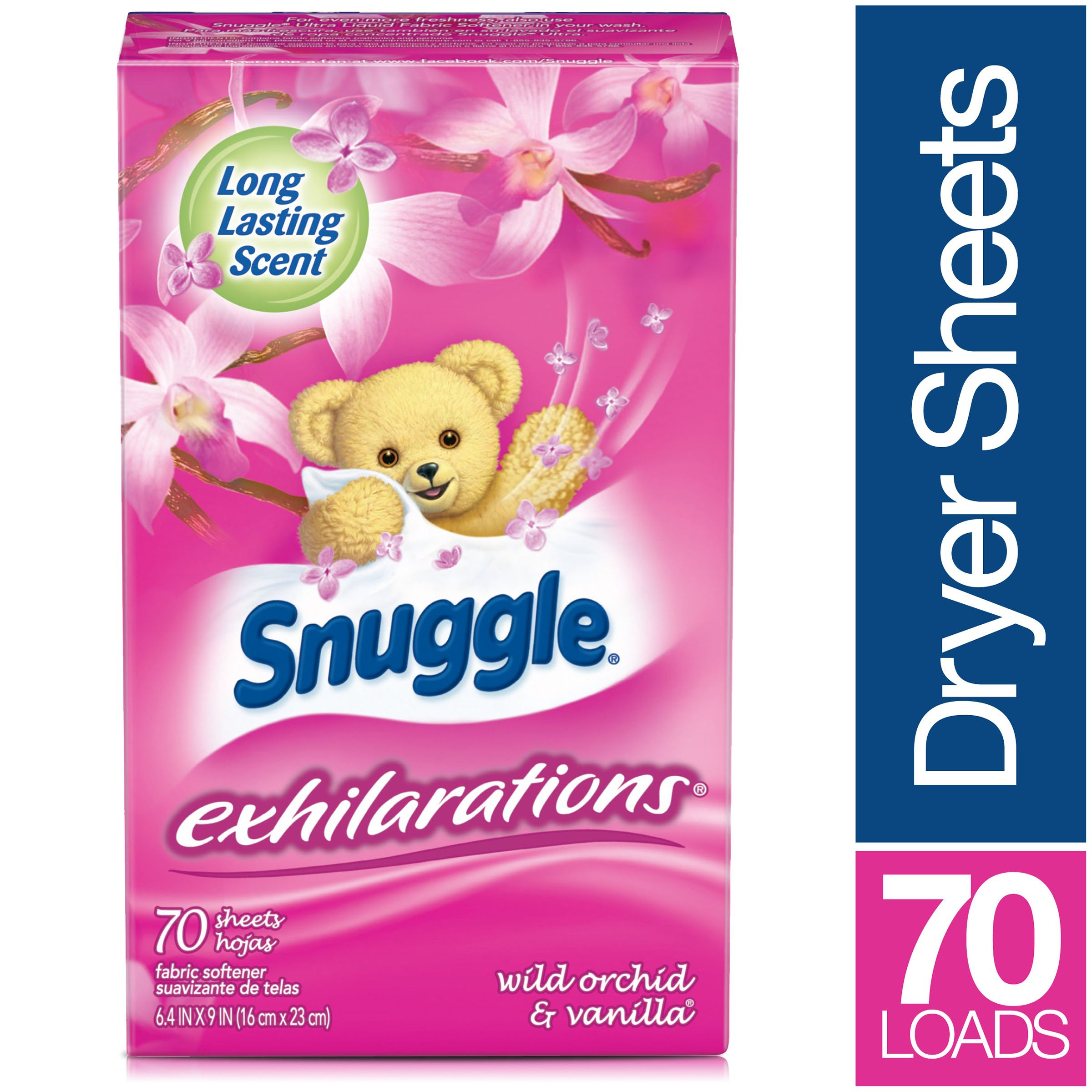 Snuggle Exhilarations Fabric Softener Sheets, Wild Orchid & Vanilla, 70 Count