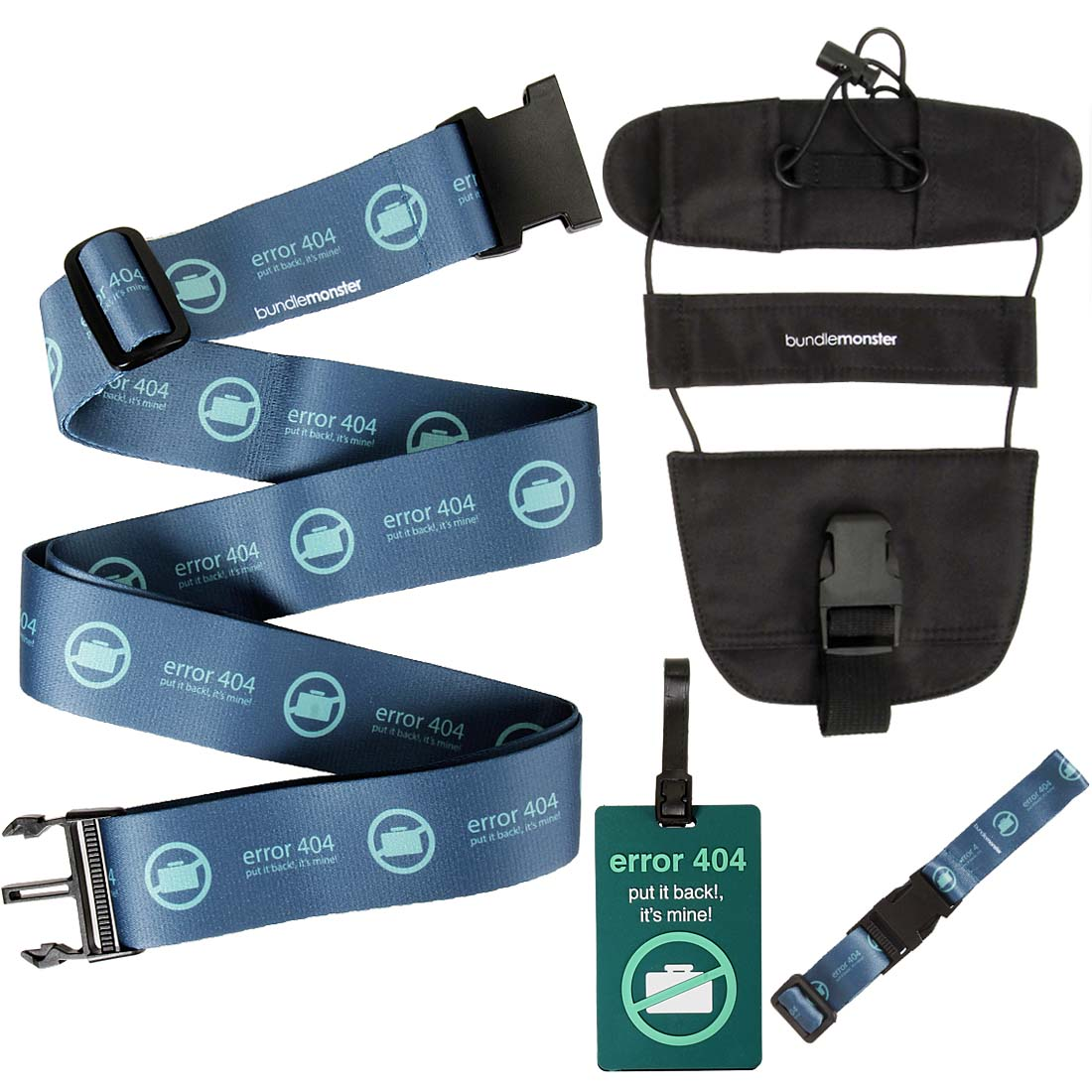 Bundle Monster 4 pc Luggage Strap Bungee ID Tag Travel Accessory Set