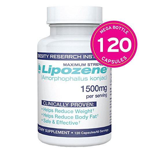 Lipozene Mega Bottle Fat Burner & Appetite Suppressant Weight Loss Pills, Capsules, 120 Ct