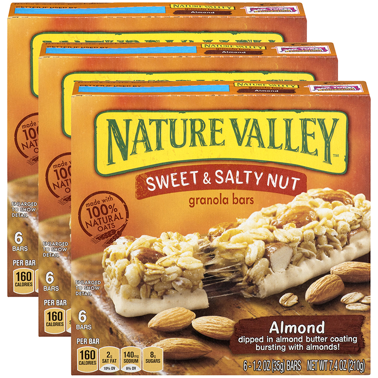 (3 Pack) Nature Valley Granola Bars Sweet and Salty Nut Almond 6 Bars - 1.2 oz
