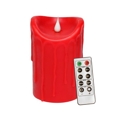 Decorative Pillar Candles - 3D Flameless LED Pillar Decorative Candle with Remote Control, Battery Operated, 3.5x5.25, Red