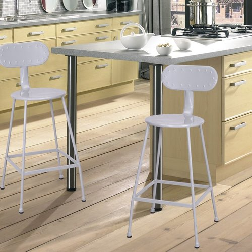 "Image of Adeco 26"" White Metal Steel Stools (Set Of 2)"
