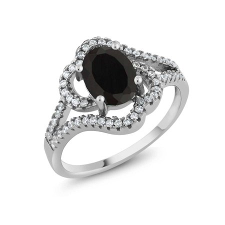 1.76 Ct Oval Black Onyx 925 Sterling Silver Ring