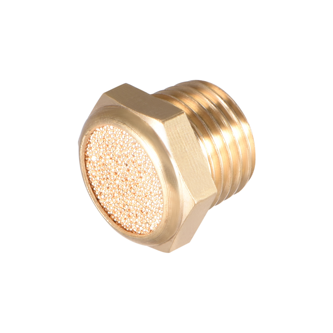 1//4 inch PT Male Thread 19//32 inch Hexagonal sintered air Pneumatic Bronze Silencer with Brass Body protruding 10 Pieces Brass Exhaust Silencer