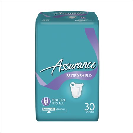 Assurance Incontinence Belted Shield Unisex  Moderate  One Size Fits All  30 Ct
