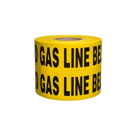 Non-Detectable Underground Tape - Caution Buried Gas Line Below - 6 in x 1000 ft Roll 4 Roll/Case