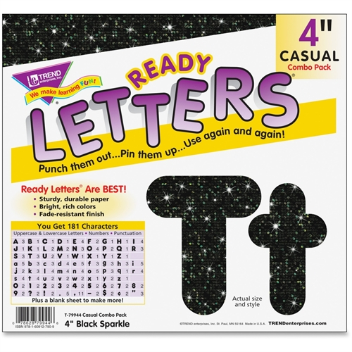 "TREND Ready Letters Casual Combo Pack, Black Sparkle, 4"", 181-Pack"