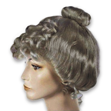 Dark Grey Victorian Wig Gibson Girl Lady Curly Upsweep 1800s Costume Womens (Victorian Wig)
