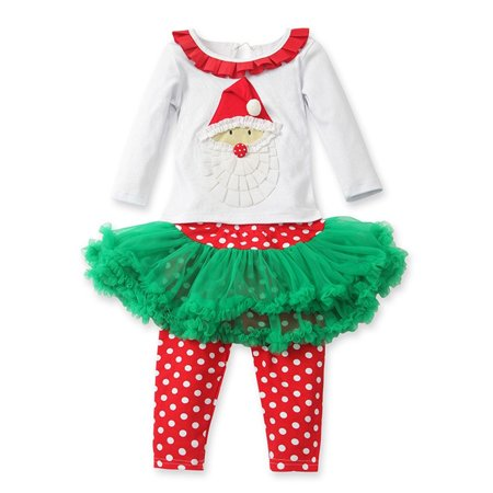 StylesILove Holiday Polka Dot Santa Graphic Little Girls Outfit (18-24 Months)