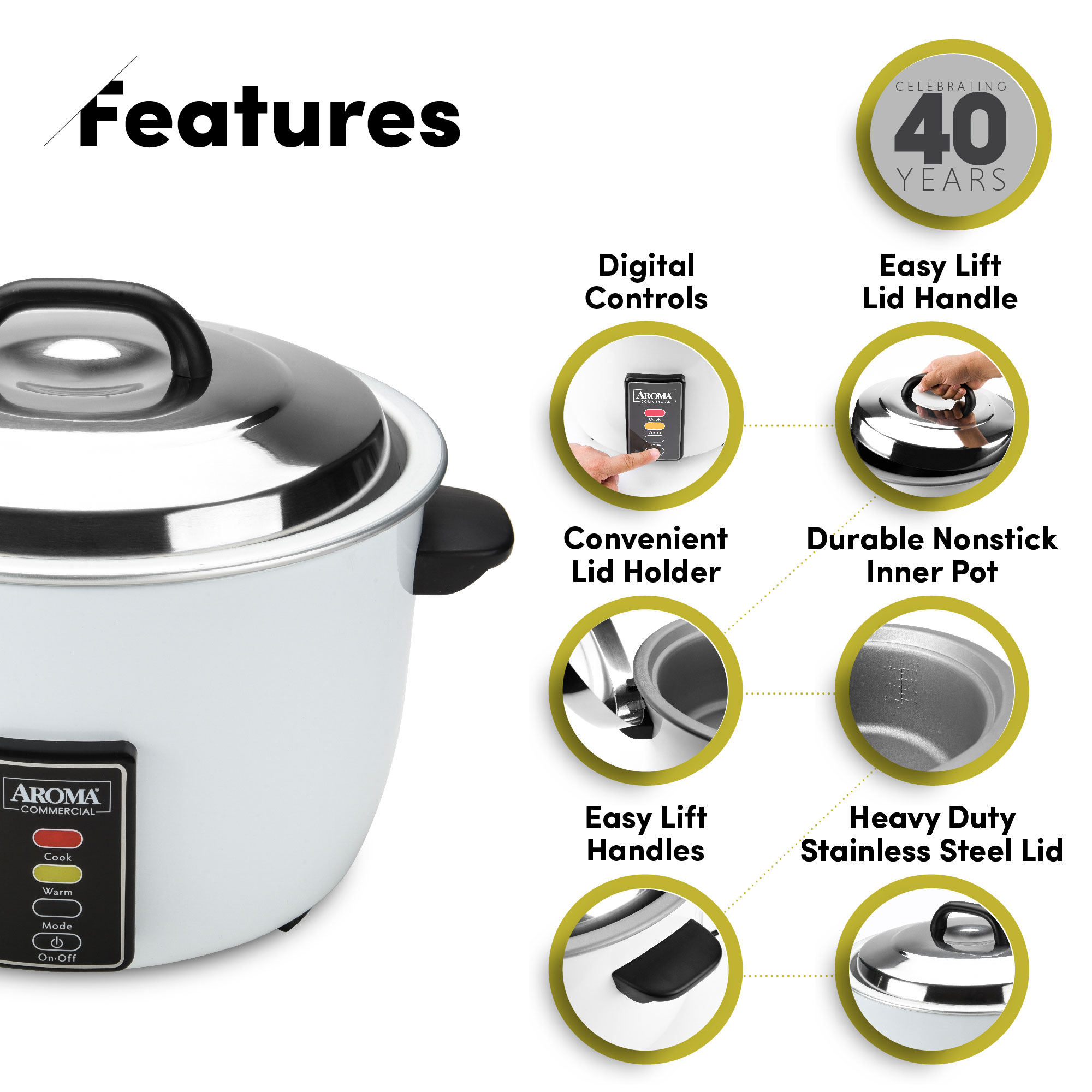 AROMA Commercial 48-cup (Cooked) Rice Cooker