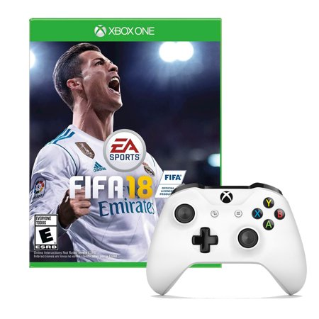 Xbox One Controller in White with Fifa 18 Game