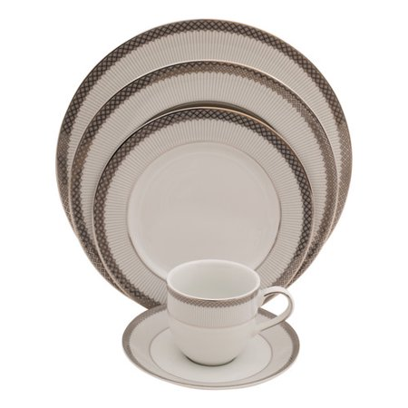 Fine Chinese Ceramics (Shinepukur Ceramics USA, Inc. Diamond 5 Piece Fine China Place Setting, Service for 1 (Set of)