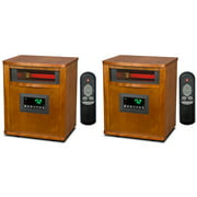 Lifesmart 6 Element 1800 Sq FT Portable Infrared Electric Space Heaters (2 Pack)