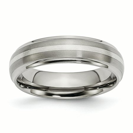 Titanium Ridged Edge 925 Sterling Silver Inlay 6mm Brushed/ Wedding Ring Band Size 8.00 Precious Metal Fine Jewelry Ideal Gifts For Women Gift Set From Heart Ladies Brushed Metal