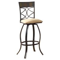 ACME Pansy Bar Chair with Swivel, Beige Fabric & Black (Set of 2)