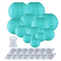 Just Artifacts Decorative Round Chinese Paper Lanterns 12pcs Assorted Sizes w/ 15pc LED Lights and Clear String (Color: Seafoam)