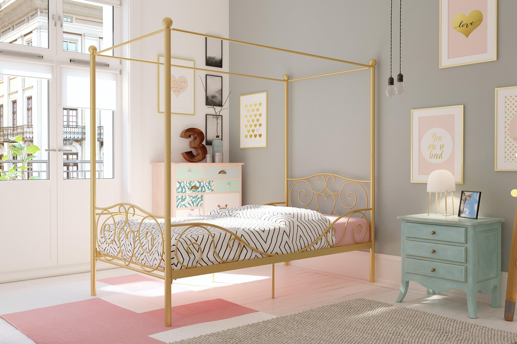 DHP Canopy Metal Bed, Multiple Sizes, Multiple Colors by Dorel Home Products