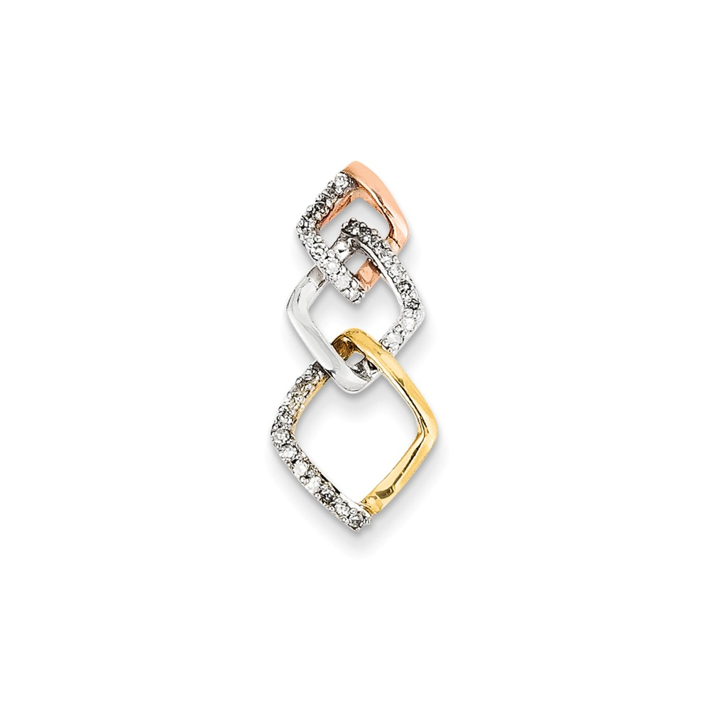 SS 0.15ct Rhodium Plated & 14k Rose Gold Triple Dangle Diamond Pendant