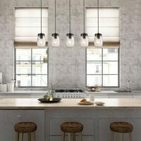 LNC 5 Glass Mason Jar Kitchen Island Lighting Multi-Pendant Chandelier Wood Canopy, Brown Hanging Pendant Lights