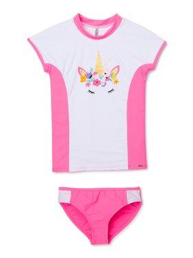 XOXO Girls Unicorn Rashguard Swim Shirt and Bikini Bottoms, 2-Piece Swimsuit Set, Sizes 4-16
