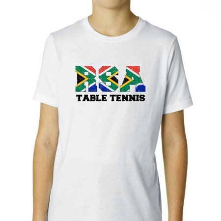 South Africa Table Tennis - Olympic Games - Rio - Flag Boy's Cotton Youth T-Shirt African Game Table