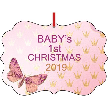Baby's 1st Christmas 2019 Baby Girl Elegant Semigloss Aluminum Christmas Ornament Tree Decoration - Unique Modern Novelty Tree Décor Favors Babys First Christmas Tree Ornament