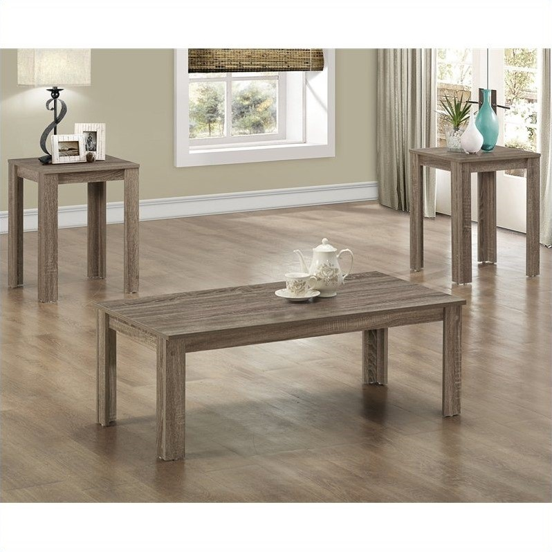 Monarch 3 Piece Rectangular Coffee Table Set in Dark Taupe