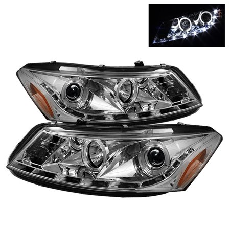 Spyder Honda Accord 08-12 4Dr Projector Headlights- LED Halo - DRL - Chrome - High H1 (Included) - Low H1 (Included)