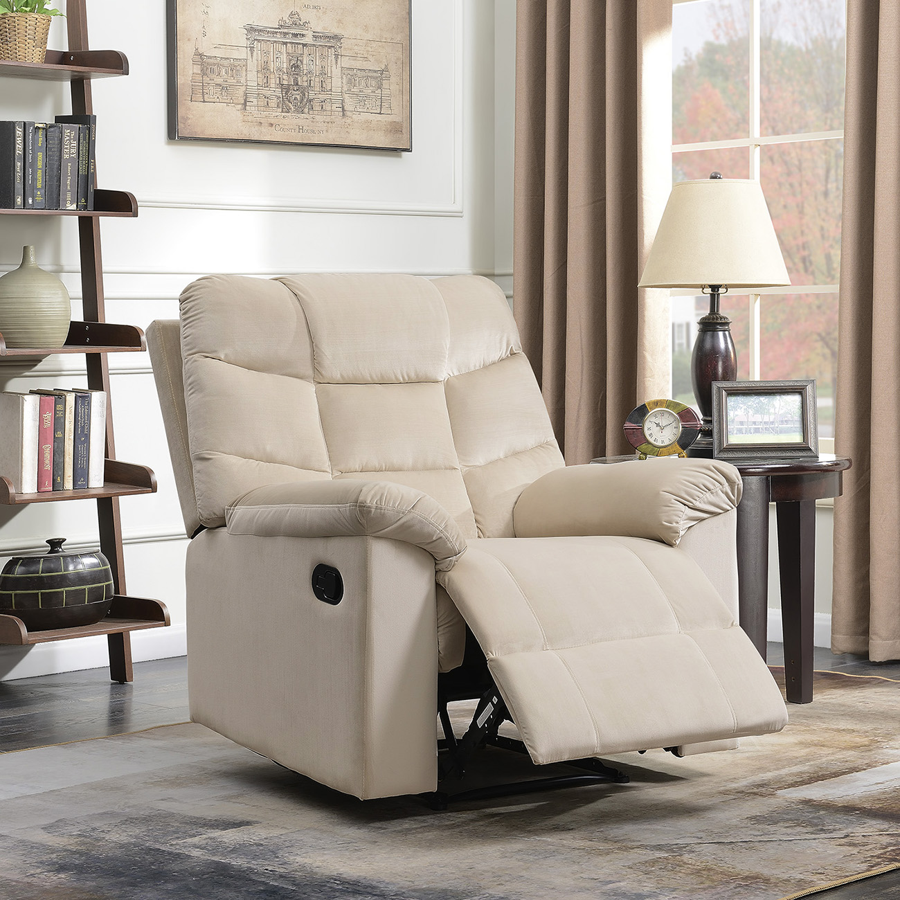 Belleze High Back Extra Overstuffed Contemporary Full Recliner Microfiber Lounge Padded Armrest Backrest Chair, Beige