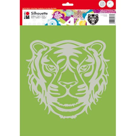 Marabu Tiger Face Stencil: Polyester, 12 x 12 - Face Paint Stencils