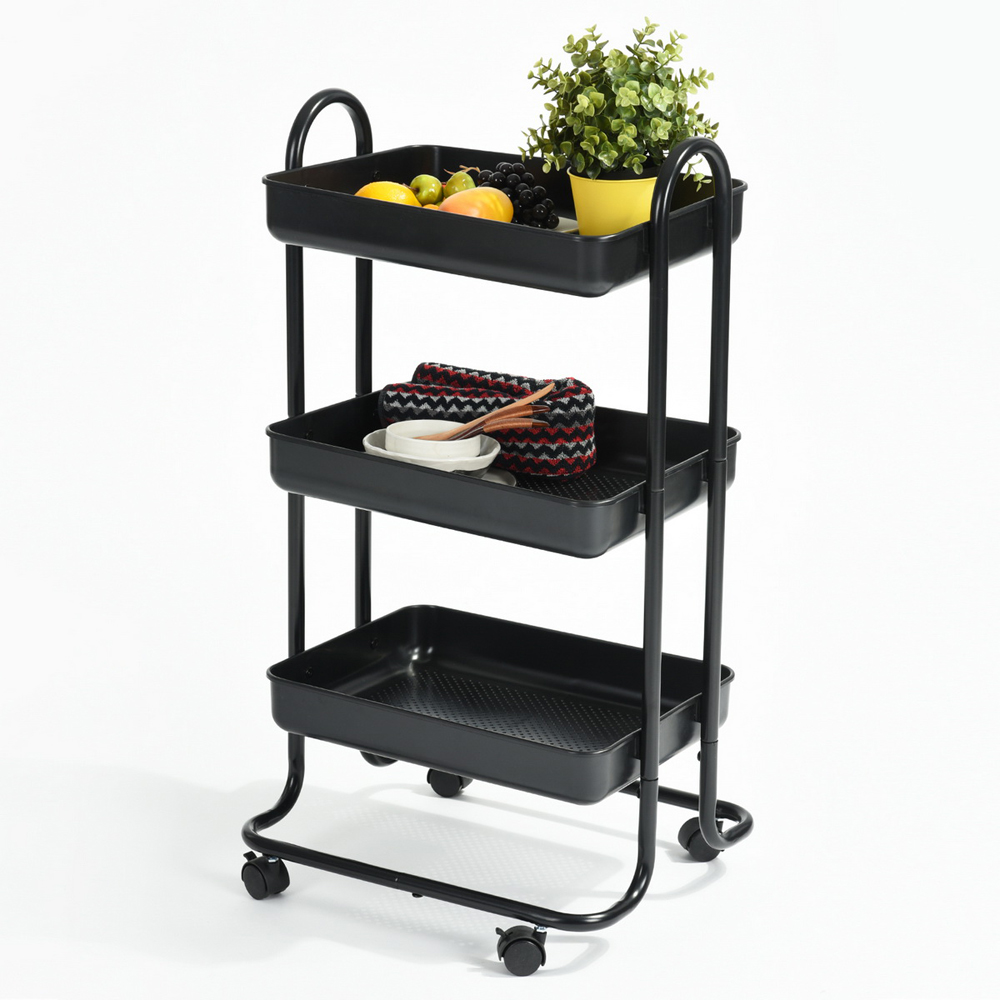 FurnitureR Rolling Cart Bathroom Utility Trolley 3 Tier Tray With Handles  And Locking Caster Wheels Small