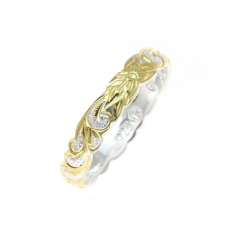 Sterling Silver 925 4mm 2tone yellow gold plated Hawaiian scroll hand engraved cut out ring band size 3 (Hand Engraved Band)