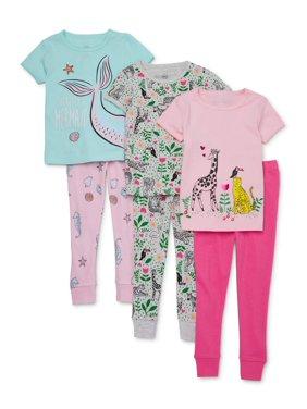 Wonder Nation Toddler Girl Snug Fit Cotton Short Sleeve Pajamas, 6pc Set