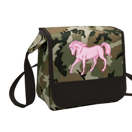 CAMO Horse Lunch Bag Stylish Horse Theme CAMO Lunchbox Cooler for School or Office - Men or - Horse Themed School Supplies