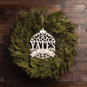 Personalized Oversized Antique White Wood Ornament