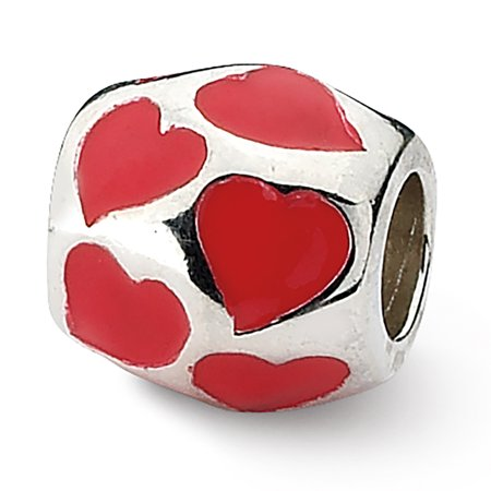 Sterling Silver Reflection Red Enameled Hearts Bead MSRP $123