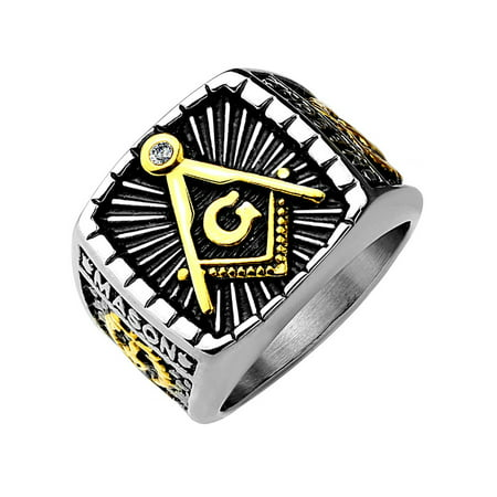 IP Gold And Burnish Steel 2-Tone Square Face Masonic Stainless Steel Casting Ring- Size (Stainless Steel Square Ring)