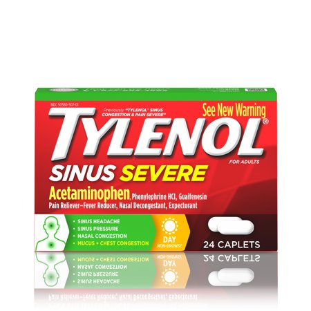 Tylenol Sinus Congestion And Pain Severe Caplets  24 Count