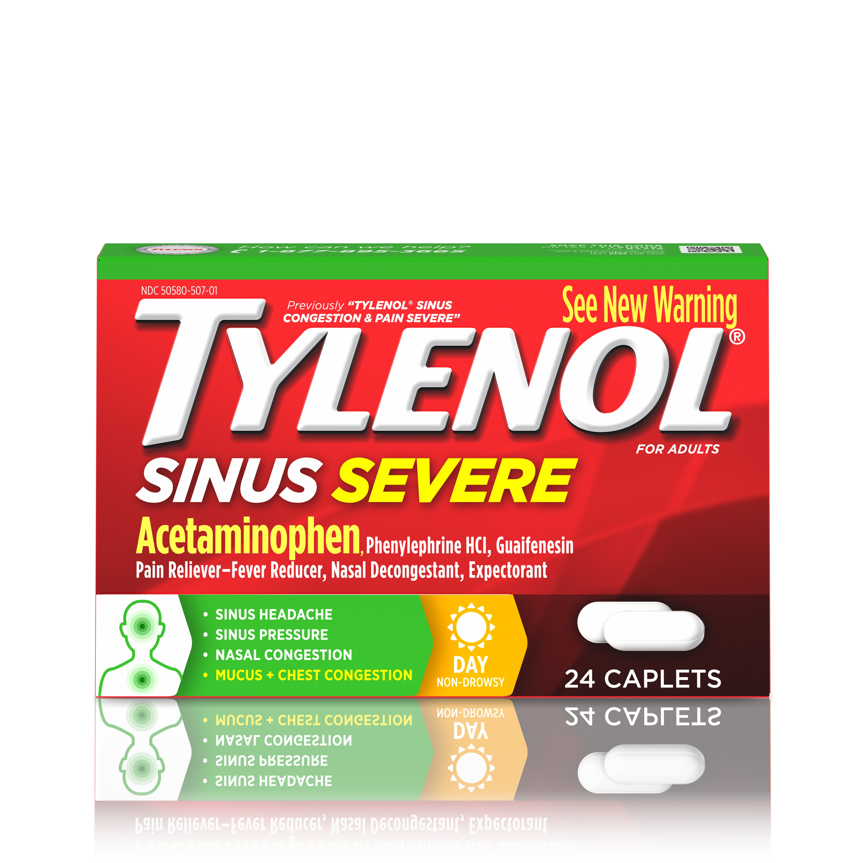 Tylenol Sinus Congestion And Pain Severe Caplets, 24 Count