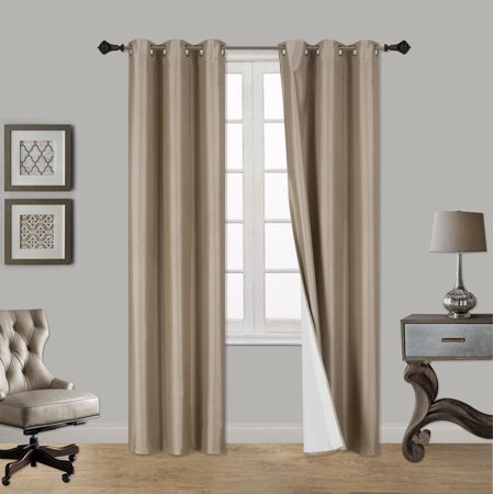 "(SSS) 2-PC Taupe Solid Blackout Room Darkening Panel Curtain Set, Two (2) Window Treatments of 37"" Wide x 84"" Length Each Panel"