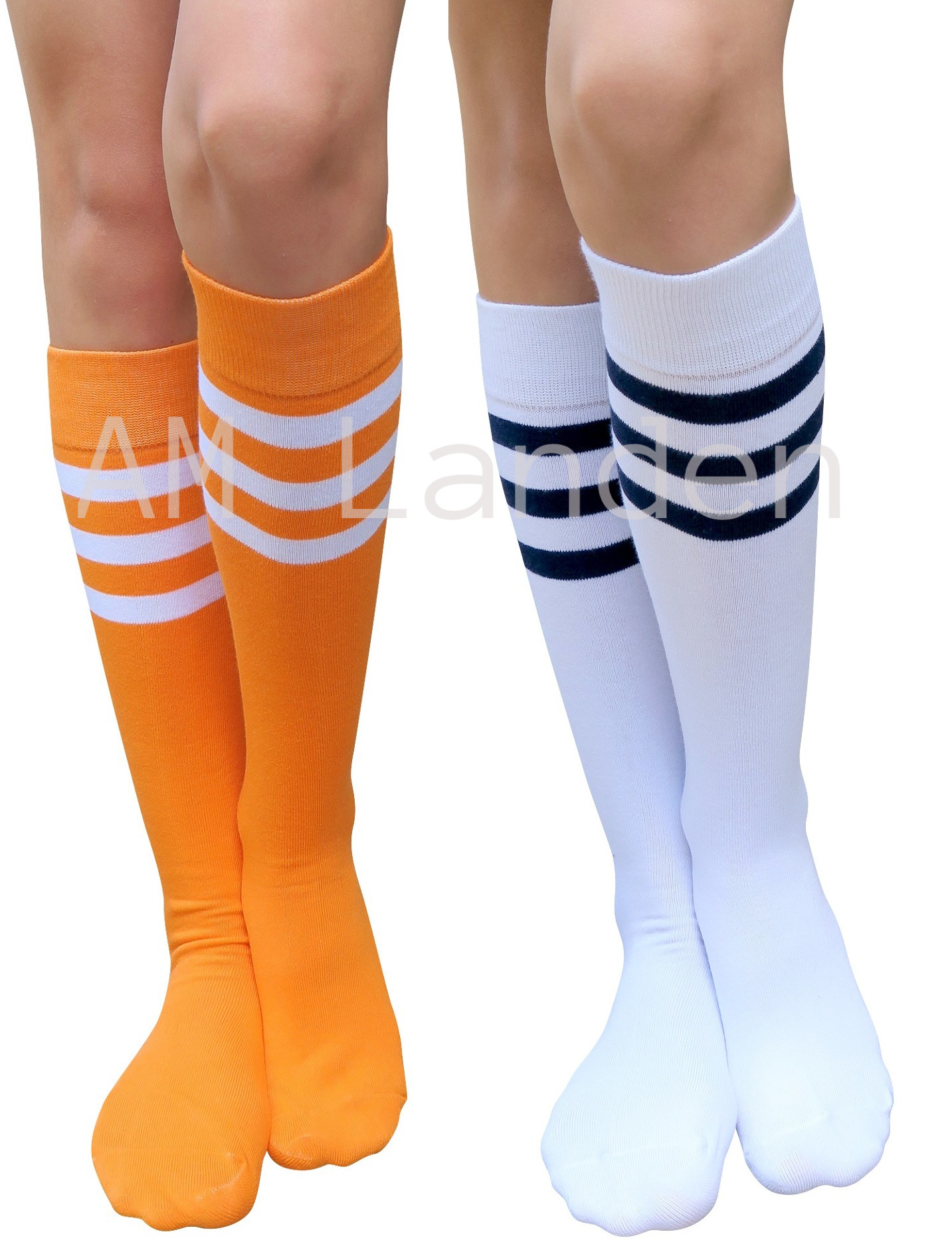 AM Landen Super Cute Triple Stripe Knee-High Cotton Socks (Orange+White)