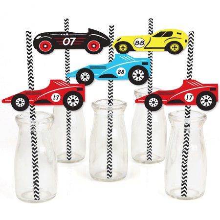 Let's Go Racing - Racecar - Paper Straw Decor - Race Car Birthday Party or Baby Shower Striped Decorative Straws-24 Ct