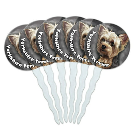 - Yorkshire Terrier Yorkie Dog Pet Cupcake Picks Toppers - Set of 6