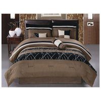HGMart Bedding Comforter Set Bed In A Bag - 7 Piece Collection Embroidery Microfiber Bedding Sets Bedroom Comforters, Cal King Size, Brown