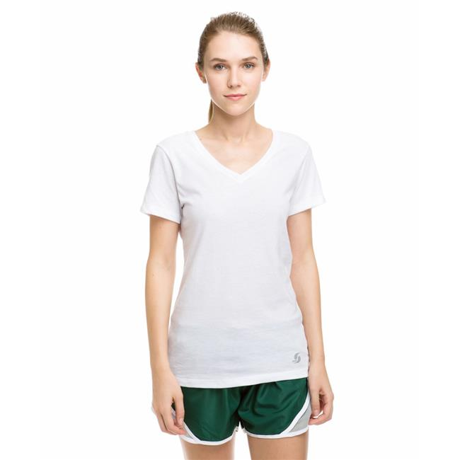 Soffe 6540V100SML Stage Juniors Polyester & Cotton Short Sleeve V-Neck Tee, White - Small