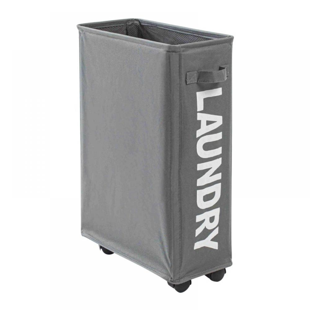 Foldable Clothes Laundry Basket Hamper Bag Large Cart with Wheels /& LAUNDRY sign