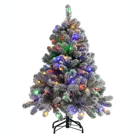 Frosty Flocked Four Foot Holiday Tree With Color Changing