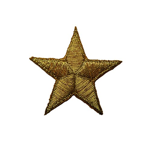 "1.625"" Gold Star Embroidered Iron On Applique Patch (4 Pieces)"