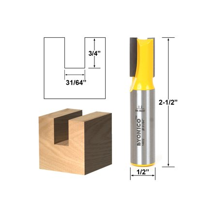 Undersized Plywood Straight Dado Router Bit - 31/64