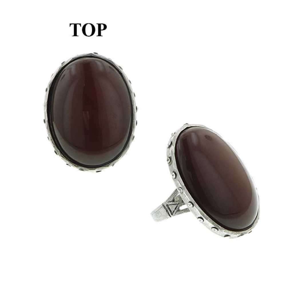 Tru Pewter Carnelian With Crystals Ring - Ring Size: 6.5 to 7.5